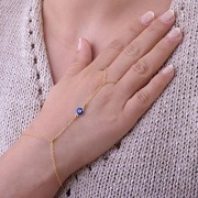 HuntGold-1X-Women-Jewelry-Blue-Eye-Bead-Gold-Bracelet-Finger-Ring-Hand-Wrist-Chain-0
