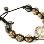 Personalised-Shamballa-Style-Gold-Crystal-Diamante-Bracelet-Wristwatch-Engraved-0