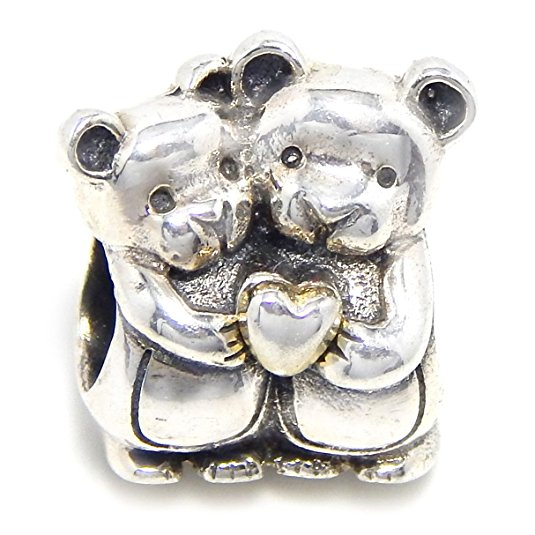 Pandora Two Bears Love Heart Charm