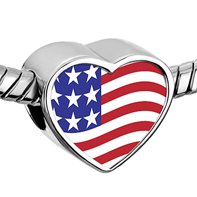 Pandora USA Heart Flag Charm